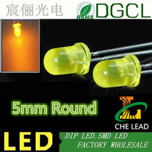 Yellow through hole 5MM led electric appliance indicator DIP LED 2.0-2.5V 15-20mA(CE&Rosh)