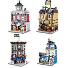 4Sets/Lot Sembo Building Block CREATOR LED Mini Street View Fire Station Barber Shop Walmart Hotel Model Compatible With Lego(China)