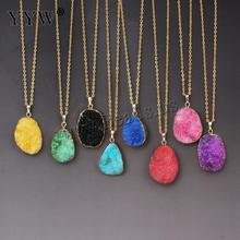 New women Fashion Natural Druzy Quartz Stone Necklace Real Gem Stones  Drusy Rose Gold Chain Drop Pendant Necklace