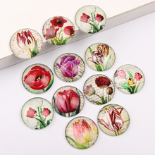 reidgaller Mixed Round Dome Tulip flower Photo Glass Cabochon 12mm 10mm 14mm 18mm 20mm 25mm diy jewelry cameo findings(China)