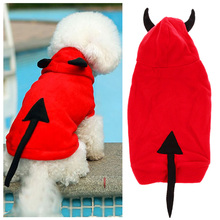 Outstanding Devil Pet Dog Puppy Coat Clothes Warm Winter Pet Dog Outerwear Costume Christmas Gift Clothing for Pet Red(China)