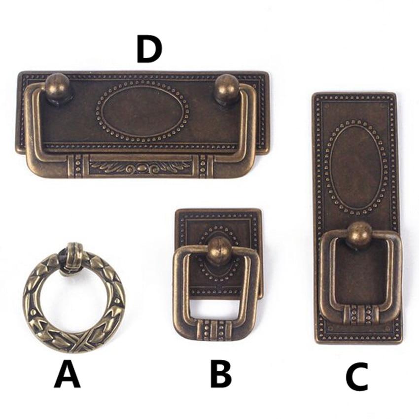 64mm Retro rustico furniture handles bronze cabinet drawer pull knob antique brass dresser pull vintage shaky drop rings handles<br><br>Aliexpress