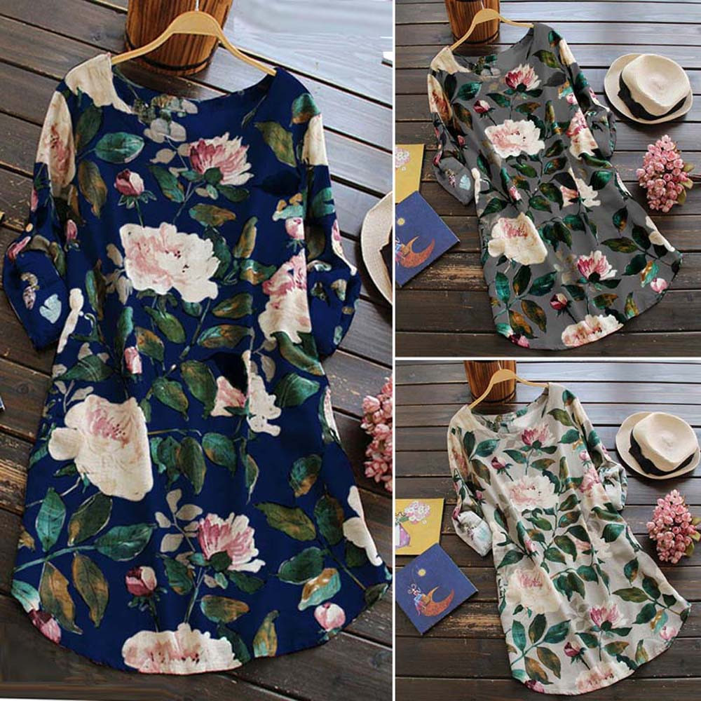 19 New Women Loose Floral Print Dress Ladies Mini Dress Summer Casual Party Dresses Long Sleeve Dress Plus Size 6