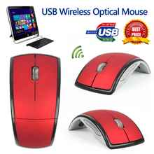 2017 New 2.4Ghz Foldable Wireless Optical Mouse Folding Optical Mouse Mice with USB Receiver For PC Laptop Computer Red(China)