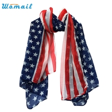 Womail The most Women Fashion Soft Silk Chiffon American Flag Scarf Scarves