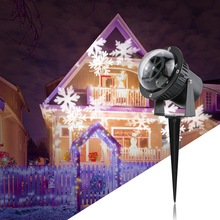 3W LED  Film Projector Light Rotating White Snowflake Pattern Lawn Garden Lamp Outdoor IP44 Holiday Decor EU/US/UK Plug