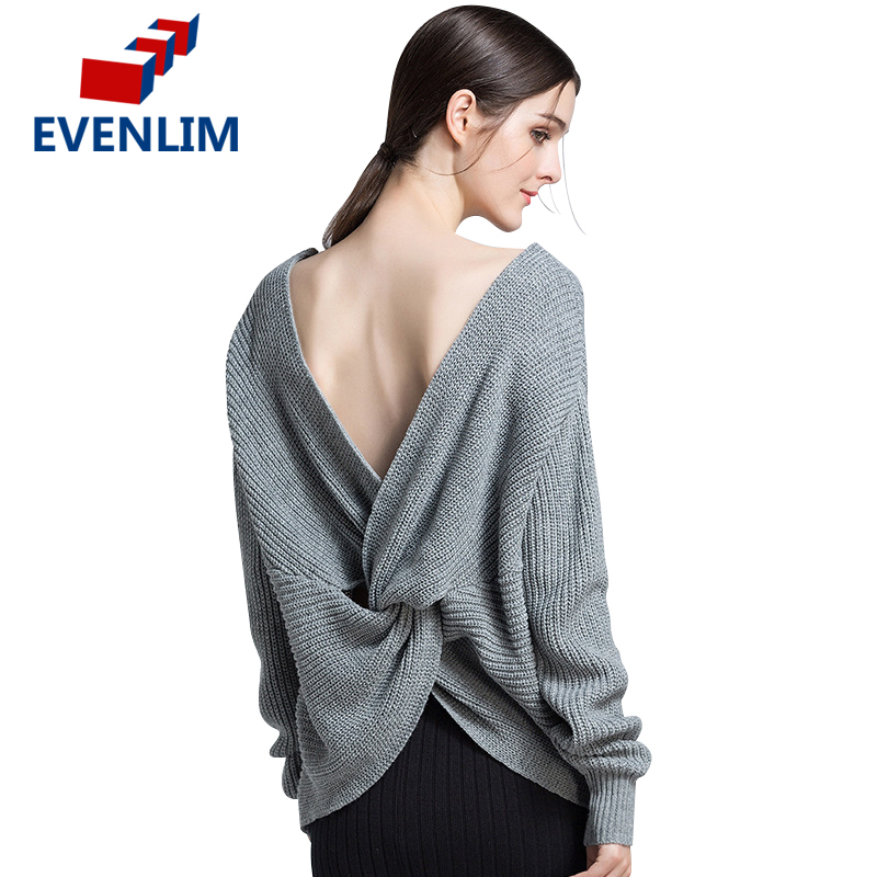 EVENLIM Sexy knitted backless pullover women v-neck long sleeve tin sweater buses for womens 2017 thin jumper pull femme YH7144(China)