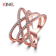 KineL Fashion Big Rings for Women Double Cross X Shape Ring Micro Paved Gold Plated CZ Diamond Jewelry Zirconia Ring wholesale