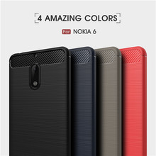 For Nokia 6 case Luxury Shockproof Slim Armor Soft Silicone Phone Back Cover For Nokia 3 5 6 Brushed Carbon Fiber Coque(China)