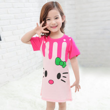 Cartoon Children Nightgown Summer Dresses for Girls Cotton Pink Princess Baby Pajamas Costume Kids Nightgown TZ227