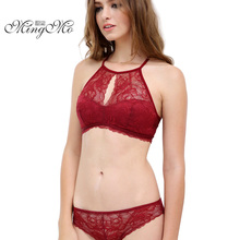 Buy MINGMO 2017 Lace Sexy Hanging Neck Bra Ultra-thin Section Wire Free Cotton Push Lingerie Women Underwear Bra & Brief Sets for $8.93 in AliExpress store