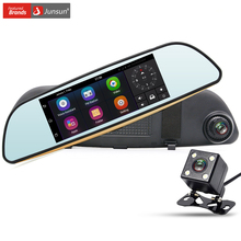 "Junsun 7"" 3G Car DVR Camera Android 5.0 Rearview Mirror GPS Navigation Dual Lens FHD 1080P Video Recorder Automobile Dash cam"