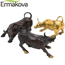 "ERMAKOVA 11.5CM(4.5"") Brass Wall Street Bull Ox Figurine Charging Stock Market Bull Statue Feng Shui Sculpture Home Office Decor(China)"