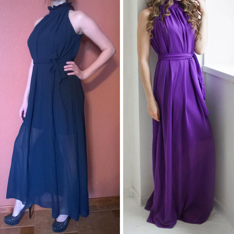 Plus Size - Multi Wear Elegant Chiffon Dress (Up To Us 18)