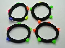 20 Assorted Neon Studs Black Soft Fabric Elastic Hair Rope Band Ponytail Holder