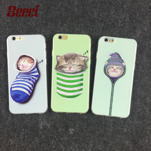 Beeci For iPhone 6 6s Plus 5 5s SE Transparent Clear Back Cover Shell Funda Phone Case Socks Sleeping Cat Soft TPU Case