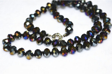 ZCD 321+++Hot natural 5X8 mm Colorful black crystal Faceted Jewel Necklace 18