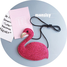 Monsisy Kawaii Kid Glitter Shoulder Bag For Girl Coin Purse and Handbag For Baby Cartoon Goose Messenger Bag For Children Wallet