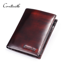 CONTACT'S Italian Burnished Leather Wallet With Coin Bag Trifold Small Men Wallet With Credit Card Holder Brand Leather Purse(China)