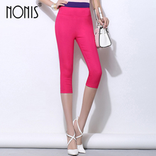 Nonis Candy Color Women Leggings Candy Color High Stretch Pencil Pants Elastic Skinny Capri Legging Female Pantalon Plus size(China)