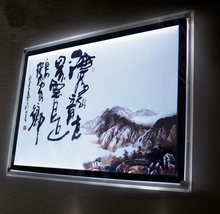 Indoor wall mounted acylic panel pictures framed led edge lighting lightbox
