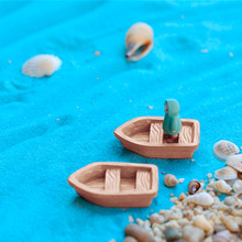 2PC/Set new resin craft Retro wood boat model Figure Toys micro garden Decoration ornaments terrariums/miniature DIY accessories