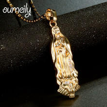 OUMEILY Charms Luxury Virgin Mary Necklace Pendant For Women Men Jewelry Holiday Christian Turkey Egypt Arabic Gold Color Gift(China)