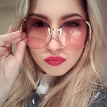 RBUDDY Oversize Sunglass Brand Designer Women 2017 Big Size Female Clear Lens glasses Transparent Gradient Rimless Sunglasses
