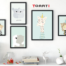 Cartoon Animal Cute Deer Bear Nordic Dog Wall Art Posters And Prints Canvas Painting Home Decor Wall Picture For Baby Kids Room(China)