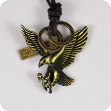 American Bald Eagle Hawk Falcon Alloy Pendant Leather Necklaces Amulet Lucky Gift Cool Tribal Totem Fashion Jewelry(China)