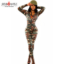 SEBOWEL Womens Halloween Costume Sexy Military Costumes Soldier Long Sleeve Rompers Womens Jumpsuit(China)