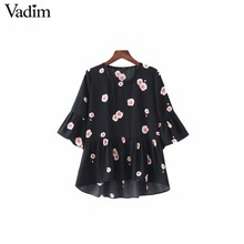 Vadim women sweet ruffles floral pleated shirts butterfly sleeve o neck blouse ladies summer casual brand tops blusas DT1194(China)