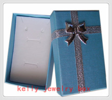 Wholesale 48pcs/lot Blue Jewelry Gift Boxes Paper Colorful Bow Jewelry Sets Display Packaging Gift Box 5x8x2.5cm