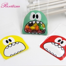 50PCS Plastic Bags 7X7CM 3Colors Cute Cartoon Monster Cookie&Candy Bag Self-Adhesive For Biscuits Snack Baking Package Supplies