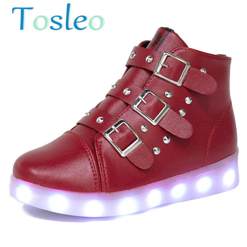 2018 Tosleo Children Snow Boots Led Luminous Boos Boy Snow Boos Girl Fashion Boots Black Pink Red<br>