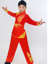 UNISEX children wushu Embroidery dragon clothes tai chi uniforms clothing sets kung fu Anime hero performance suits topquality