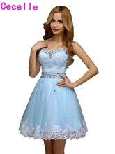 Custom Made Informal Short Homecoming Dresses Blue A-line Appliques Beaded Tulle Girls Party Homecoming Dresses 2017 Custom Made(China)