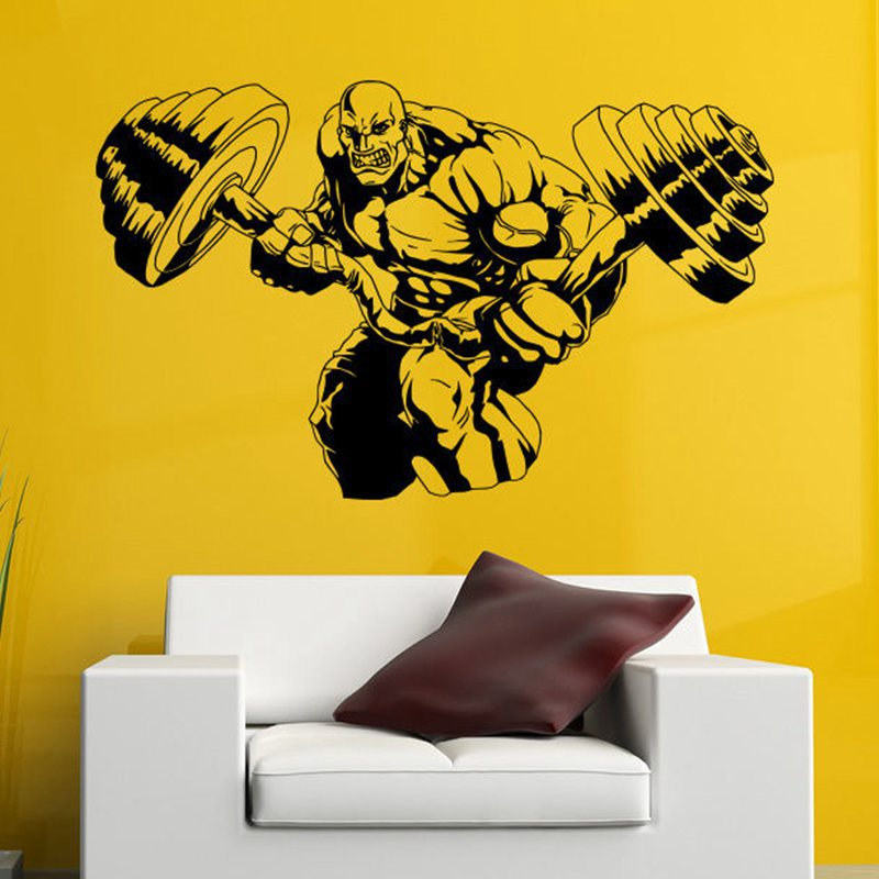DCTAL Gym Sticker Fitness Barbell Decal Body-building Posters Vinyl Wall Decals Pegatina Quadro Parede Decor Mural Gym Sticker
