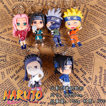 1PCS random character  child toys PVC Anime Naruto Keychain Shippuden Sakura Kakashi Pendant Boys Girls Gift Toy Decoration