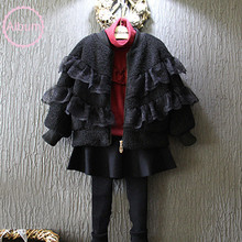 2017 Girls winter clothes Black designed lace ruffled wadded jacket Kids zipper fur coat Cotton-padded outwears