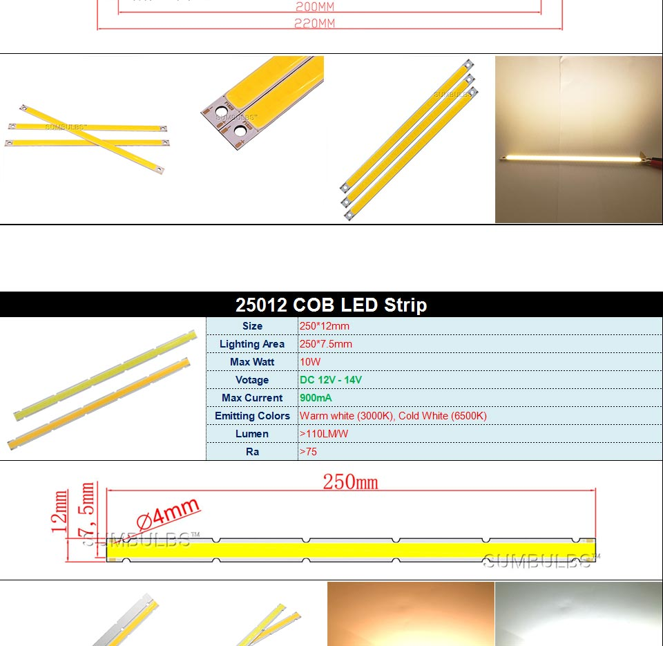 DC12V LED COB Bulb Light Emitting Diodes 2W-200W Round COB Strip White Red Blue Color 12V LED Lamp Chip for Auto Car Bulbs DIY (13)