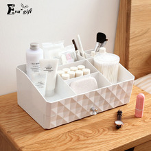 Double layer makeup organizer box multi-functionaltable jewelry cosmetic storage box home small items plastic jewelry case(China)