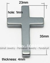 Non-magnetic Hematite Pendants,  Cross,  Black,  Size: about 35mm long,  23mm wide,  4mm thick,  hole: 1mm