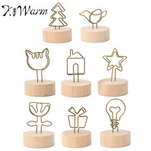 KiWarm Mini Vintage wooden desktop figurines wrought iron message note clip pictures photo holder Home decor Arts crafts gift