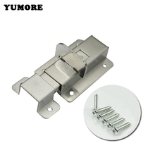 YUMORE Stainless Steel Door Latch Sliding Lock Barrel Bolt Silver Square Door Bolt Latch Mounted Buckle with screws(China)