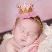 2017 Baby Pearl Crown Hair Bands For Girls Baby Shiny Cute Princess Baby Crown Accessories Bebe Elastic Ribbon Headdress(China)