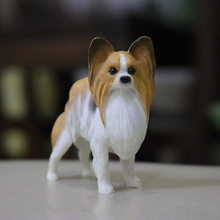 Cute 7.5cm Papillon doggy figure artificial pet dog car styling home room decoration decorative article Christmas gift fan toy