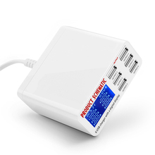 6A USB Charger with LCD Digital Display 6 Port USB Charger Fast Smart Charging Station for Smart Phone Tablet PC US EU UK plug