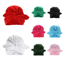 Toddler Kids Baby Cotton Soft Turban Knot Hat Rabbit Ears Stretchable Cap Bohemian Beanie