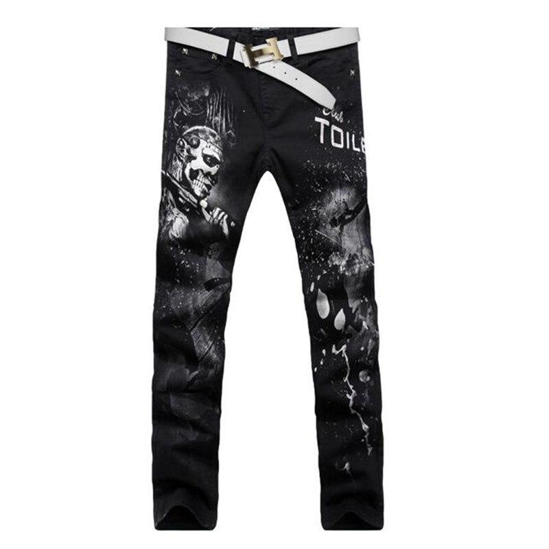 2017 men jeans HOT SALE black jeans slim winter Tide card jeans hip hop skinny Skull pattern printed robin jeans homme Plus sizeÎäåæäà è àêñåññóàðû<br><br>